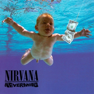 Capa do álbum Nevermind do Nirvana, banda rock/grunge anos 90